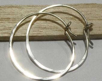 Sterling Silver Hoop Earrings, Sterling Silver Hoops, Hammered Sterling Silver, Silver Earrings