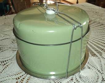 Vintage Green Tin Cake Cover-Tray-and Carrier