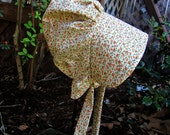 """Pioneer bonnet Ivory with flowers/  Girls Prairie bonnet """"Special Price for ready to ship"""""""