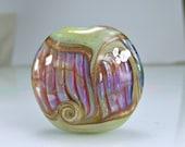 Glass Lampwork Focal Bead  Antique Pale Green Pink Purple Goldstone