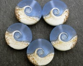 Lampwork Small Focals Sprees (5) Blue Wave