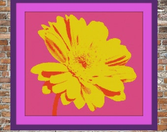 Pop Art Gerbera - a Counted Cross Stitch Pattern