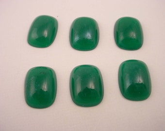 6 vintage glass jade green flatback 16x12 cabochons octagon rounded edge