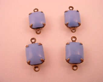 6 Vintage French   opaque Dark Blue Violet Octagon Glass Charms 2 ring 10x8 antique brass ox prong connectors