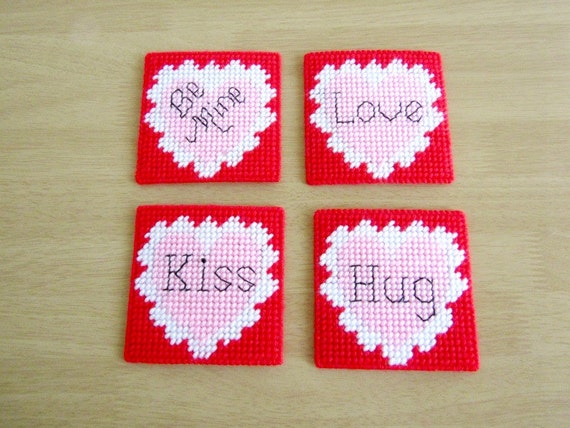 Handmade Valentine Heart Coasters