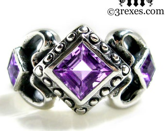 Princess Love Silver Engagement Ring Gothic Wedding Band Amethyst Size 6
