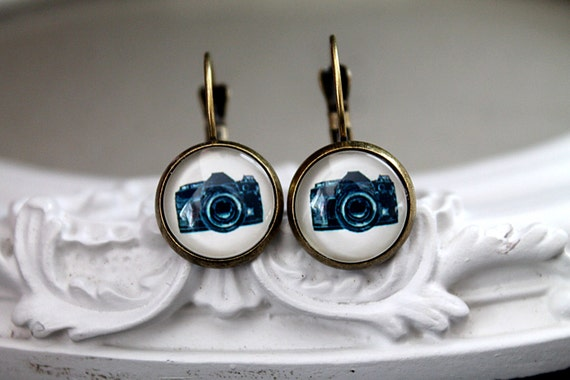 Little camera earrings sweet lolita feminine leverback black white