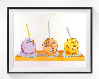 ORIGINAL Painting Cupcake / Cake Pop art / watercolor / Mod pop art / Dessert food art / Kitchen wall decor / Pastel color feild