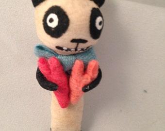 Spun Cotton panda with hearts Valentine ornament by Maria Paula