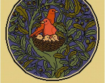 There's No Place Like Home cross stitch pattern PDF Arts and Crafts CFA Voysey Birds in a Nest