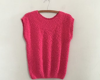 Vintage pink nubby knit sweater vest knit tank top