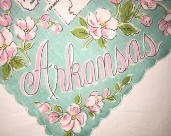Vintage State of Arkansas Hanky - Handkerchief Hankie