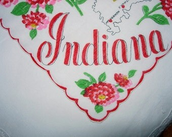 Vintage Indiana State Hanky - Hankie Handkerchief
