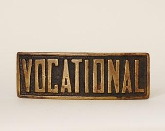 Vintage 1940s Vocational Belt Buckle Brass Unusual Men's Trade Worker Industrial