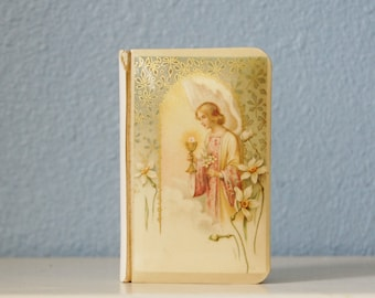 Vintage 1930s God's Child First Communion Prayer Book Lovely Celluloid Angel Cover