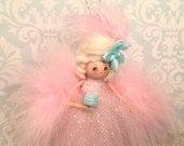 Reserved for TA                               Marie Antoinette ornament marie antoinette doll pink and blue vintage retro inspired art doll