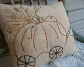 Fall Hand Stitched Pillow, Pumpkin Trolley, Hay, Pumpkin Wagon, FAAPGIVETHANKS