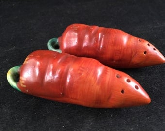 Set of Vintage Carrot Salt and Pepper Shakers