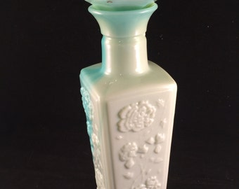 Vintage Two Tone Teal and Aqua Milk Glass Floral Liquor Decanter with Lid