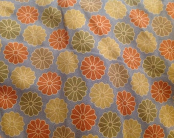 4 1/2 Yards of Vintage Green, Yellow and Orange Mod Flowers on Blue Cotton Fabric