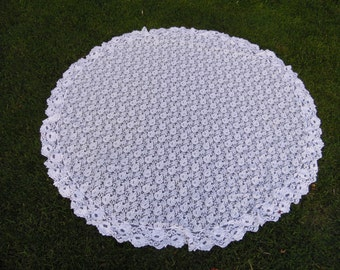 Vintage White Lace Round Tablecloth