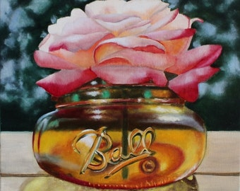 Rose in Mason Ball Jar Amber Glass Oil Painting OOAK Original