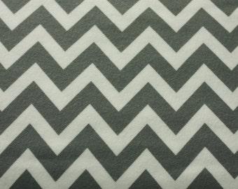 SALE 1 yard FLANNEL White and Grey Chevron fabric from Robert Kaufman Remix