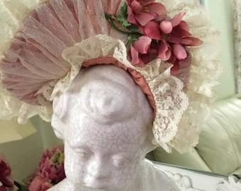 Vintage lace bonnet Victorian hat