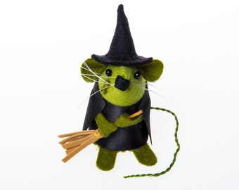 Witch Mouse - collectable Halloween art rat artists mice scary felt mouse cute spooky soft sculpture toy stuffed plush doll ornament - Gwen