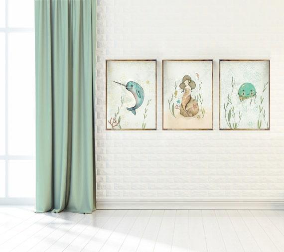 Ocean Wall Decor For Nursery : Ocean wall art for girls mermaid seahorse nursery decor