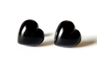 Puffed Heart Earrings, Black Studs, Minimalist Noir Kawaii Hearts, Pastel Goth