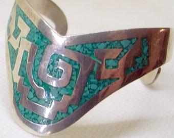 Vintage Taxco Cuff Bracelet,Sterling Silver Turquoise,Old Eagle Mark,Aztec Bracelet,Signed,Gift For Her