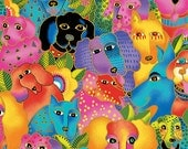 Laurel Burch Fabric Dog & Doggies All Over Dog Print Y1798-56M