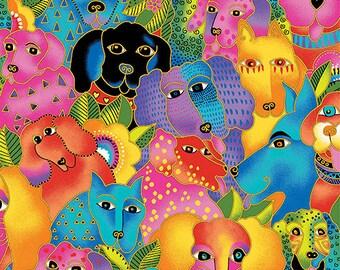 Laurel Burch Fabric Dog & Doggies All Over Dog Print Y1798-56M