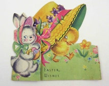 Vintage Easter Greeting Card with Cute Rabbit Duck Duckling Under Big Hat Bonnet by A-Meri-Card
