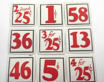 Vintage Set of 9 Store Pricing Tags with Large Red Numbers Lot B