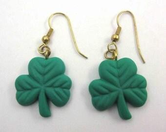 Vintage Irish Green Shamrock Pierced Earrings Jewelry by Gibson