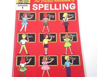 The  Practice Workbook of Spelling Vintage 1960s Unused Illustrated Children's Spelling Workbook