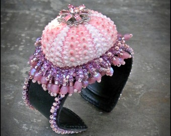 Bead Embroidered Cuff Bracelet - Pink Sea Urchin with Glass Beads and Fringe - black leather cuff band - by Hannah Rosner
