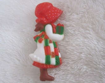 Holly Hobbie, pin , lapel pin , american grettings ,Christmas pin, vintage 1970 still in package