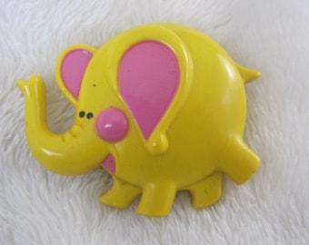 Vintage Yellow elephant perfume pin Avon