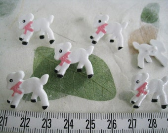 20 pcs of Little White Lamb Button