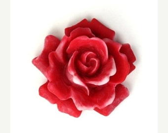 50% off Sale Plastic Flower Cabochons Rose Large Matte Red and White 34mm (2) PC240