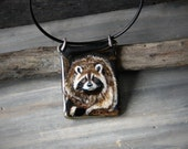 Raccoon in the tree necklace -  fused glass pendant