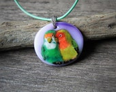Beautiful Love birds - fused glass pendant - Bird jewelry