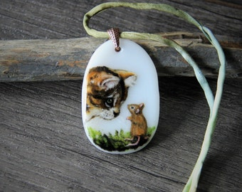 The secret Necklace, mouse and cat fused glass pendant,
