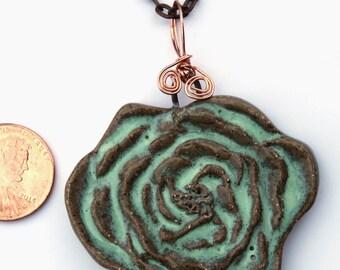 Hand Made Stoneware Pendant Necklace Aqua Blue Green Rose Carved Copper