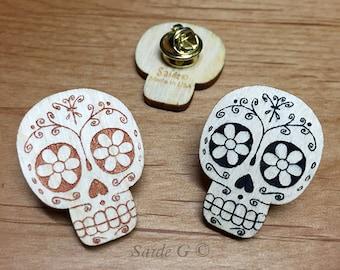Wooden Sugar Skull Pin