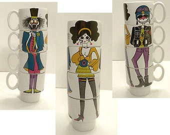 Vintage Staffordshire Potteries Ltd. Stacking Mod Cups With Vampire, Biker and Mini-Skirted Gal