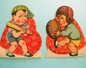 2 Vintage Valentine's Day Cards Sport Themed Baseball and Football